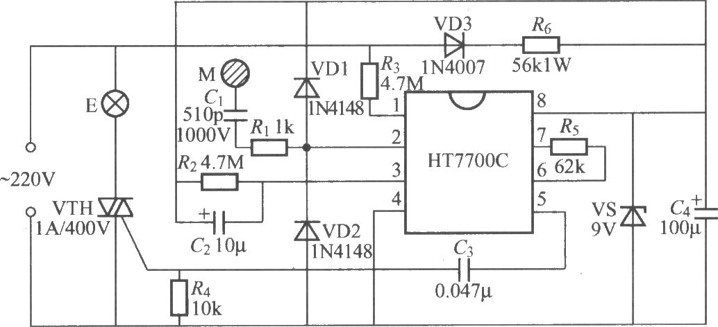 Light Dimmer Circuit Diagram http://www.seekic.com/circuit_diagram/LED_and_Light_Circuit/HT7700_touching_stepless_dimmer_circuit.html