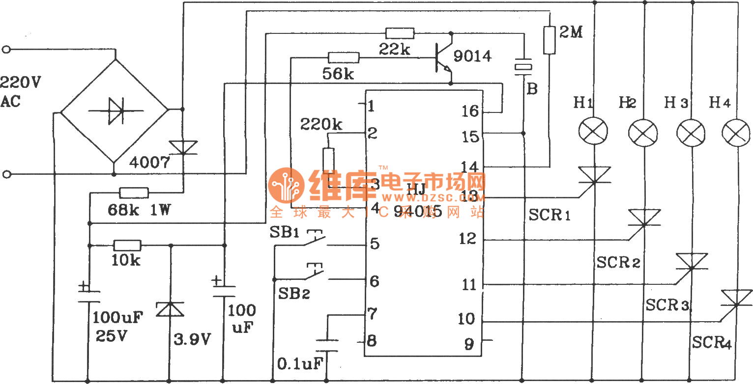 The typical application circuit of HJ94015 Christmas lights string ...