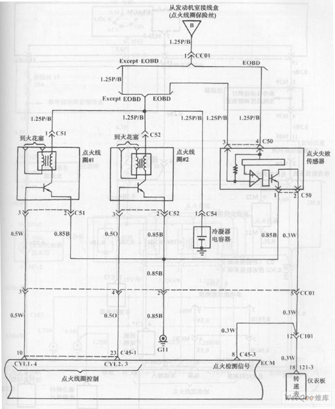 fuel injection system circuit of hyundai sonata with 4-cylinder engine (7)