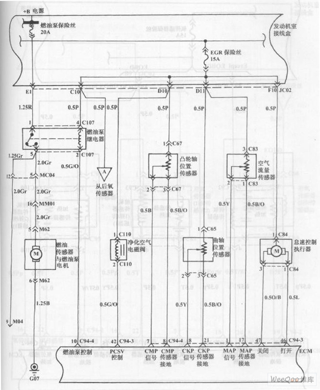 fuel injection system circuit of hyundai sonata with v4 cylinder engine  11