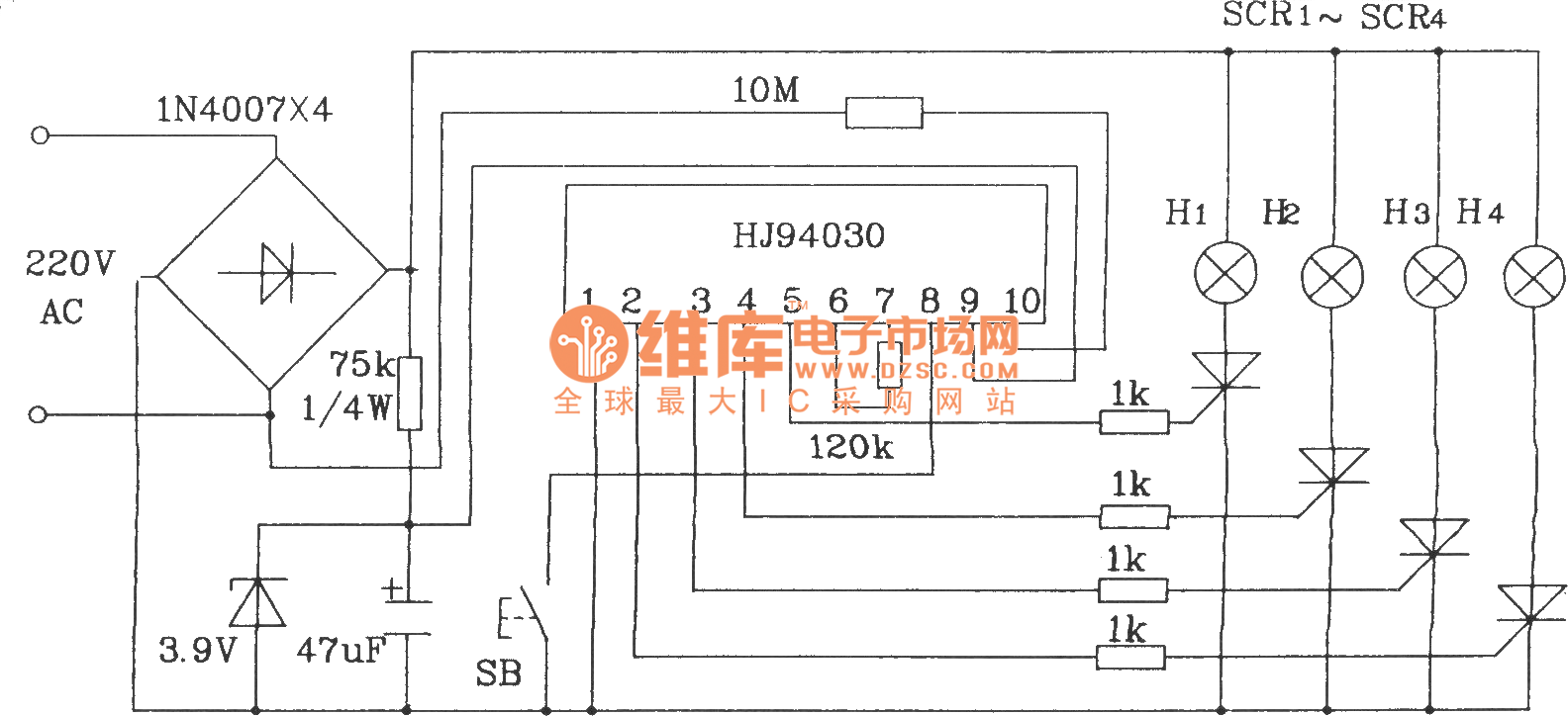 the typical application circuit of hj94030 multi-function light control ic