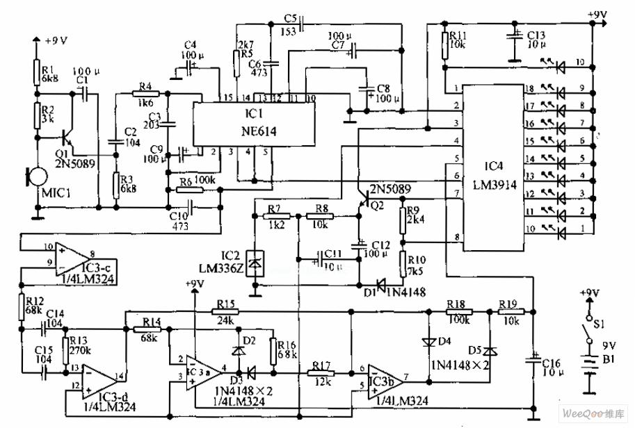 language analysing polygraph circuit - basic circuit - circuit diagram