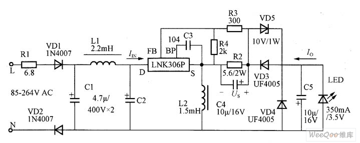 20117206512934 positive buck boost type led constant current driver circuit