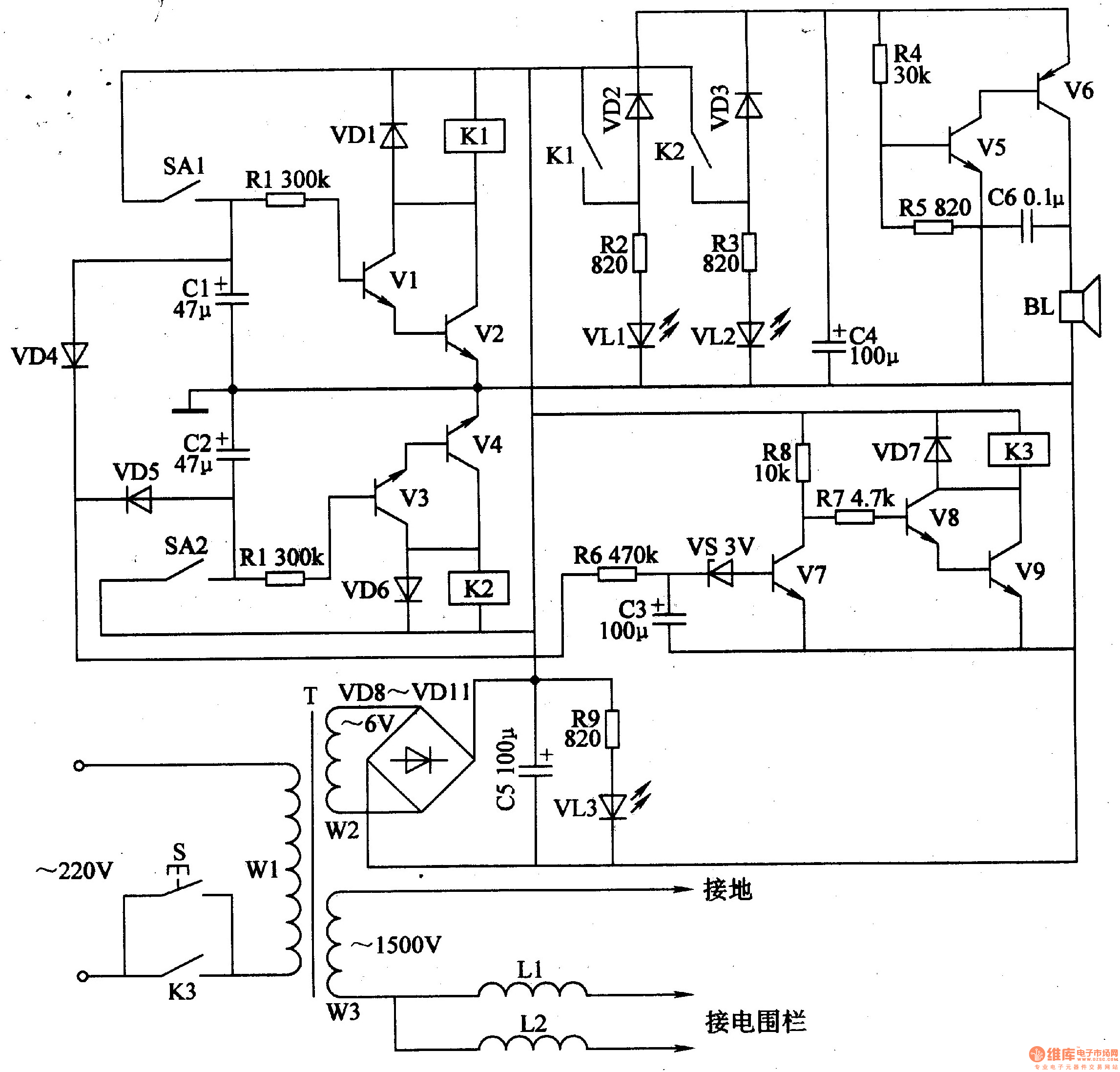 Electric Fence Control Circuit 5 Diagram Wwwseekiccom Circuitdiagram Powersupplycircuit Negativevoltage