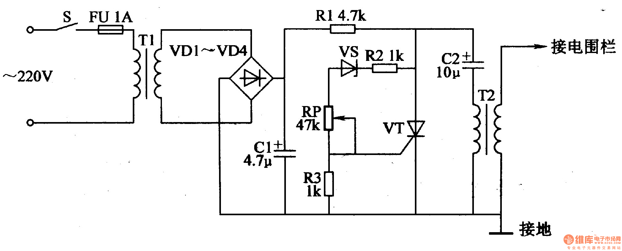 electric fence control circuit 7 - control circuit - circuit diagram