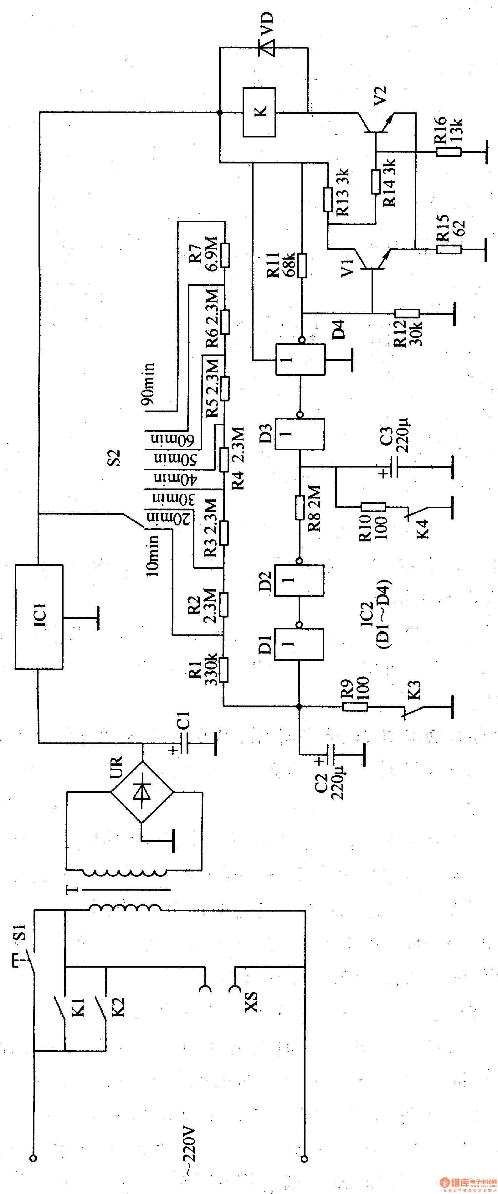 primary timing controller 4 - time control - control circuit - circuit diagram