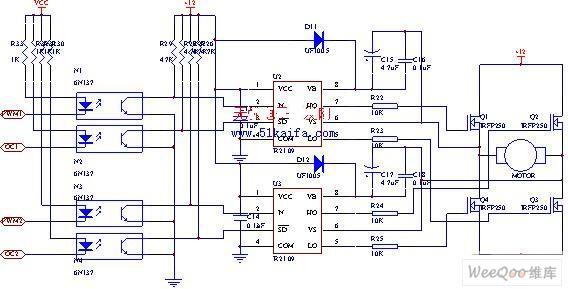 Using IRFP250 power tube H-bridge motor drive circuit ... on
