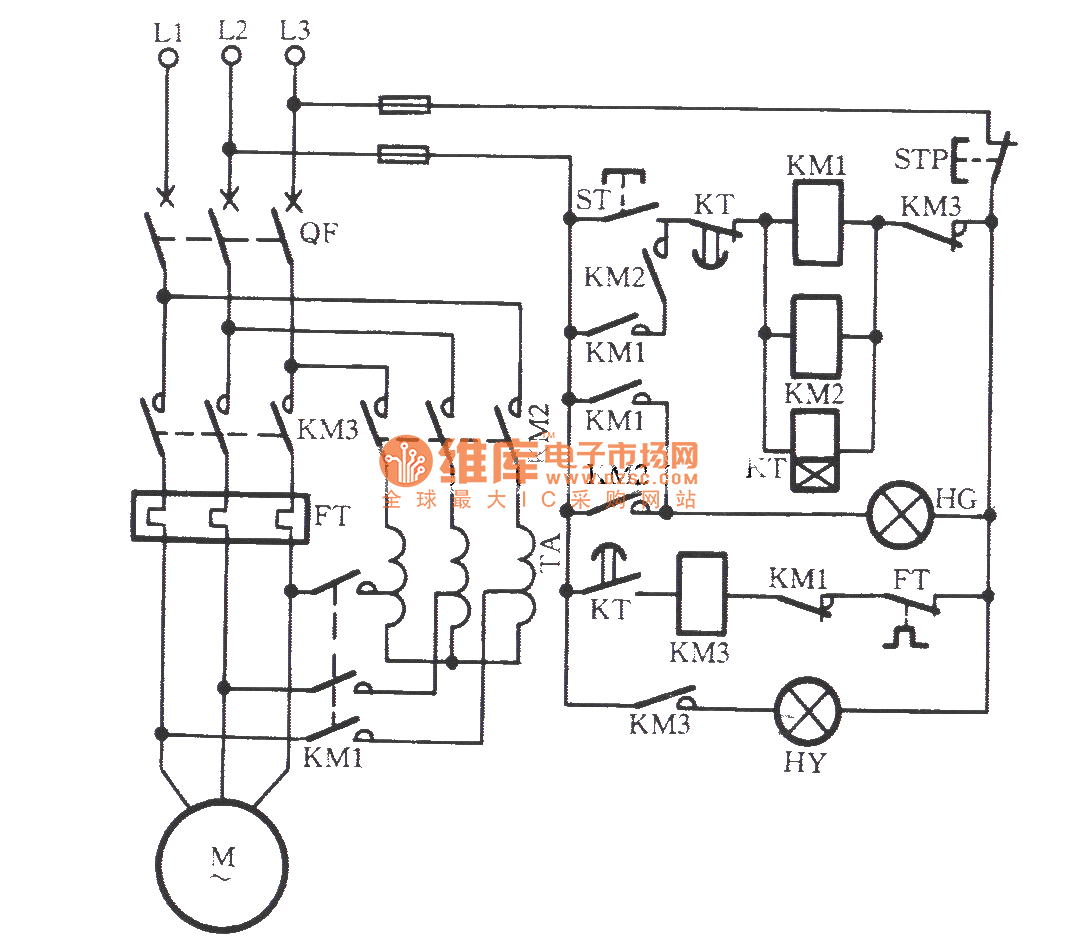 the self-coupled step-down starting circuit of avoid main contactor wielding accidents