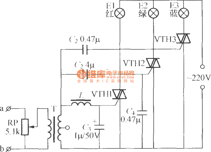 remote control type music color lamp circuit  2  - led and light circuit