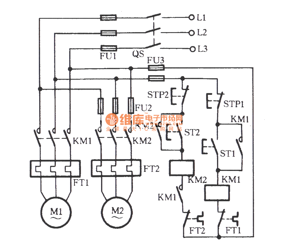 two electric motors one after one start-up circuit - relay control - control circuit