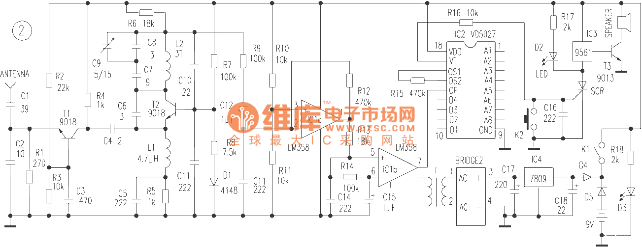 the domestic wireless burglarproof alarm circuit - control circuit - circuit diagram