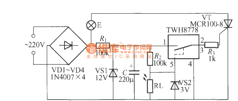 light control street lamp circuit using twh8778  2  - control circuit - circuit diagram
