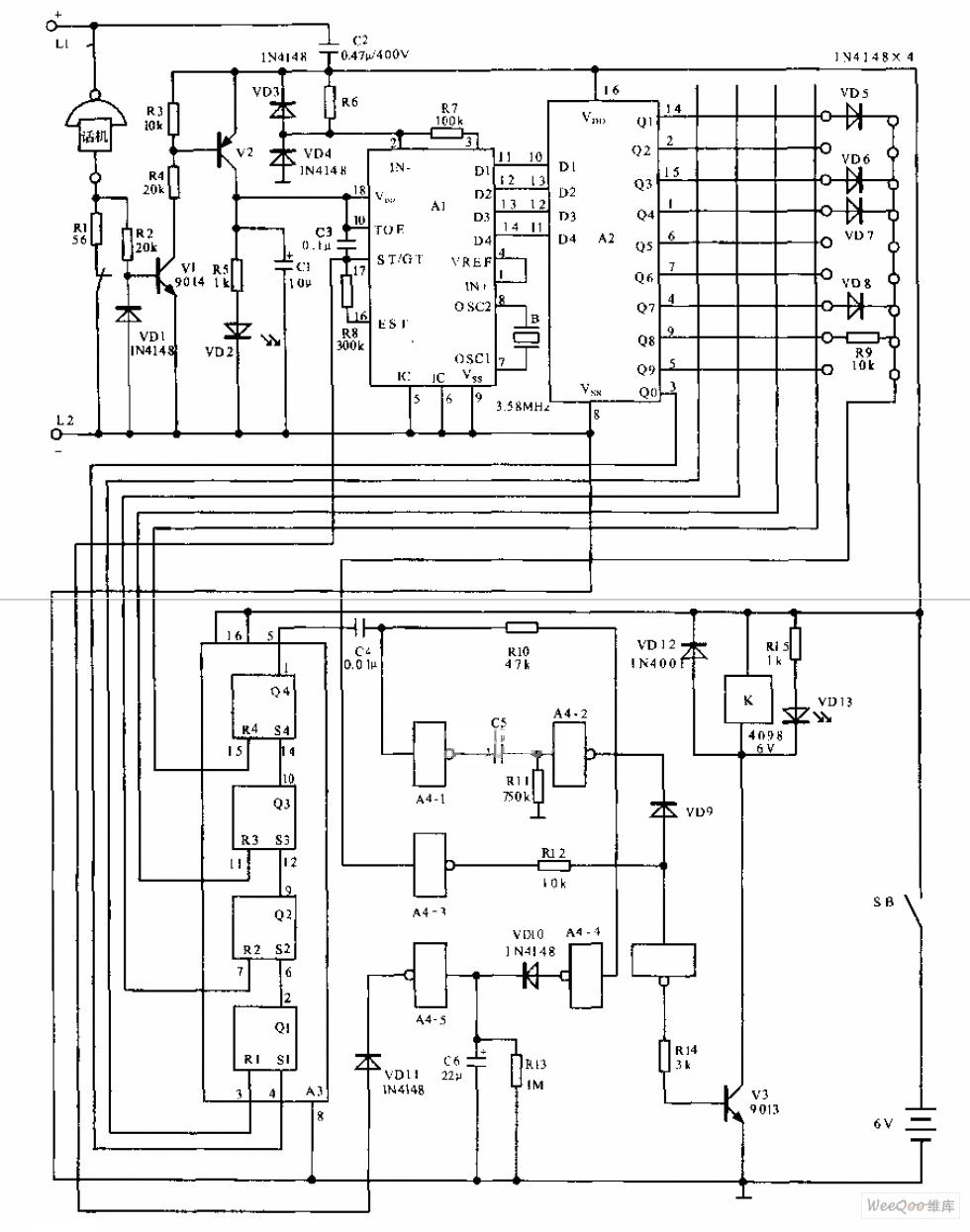 Telephone Electronic Coded Lock Circuit