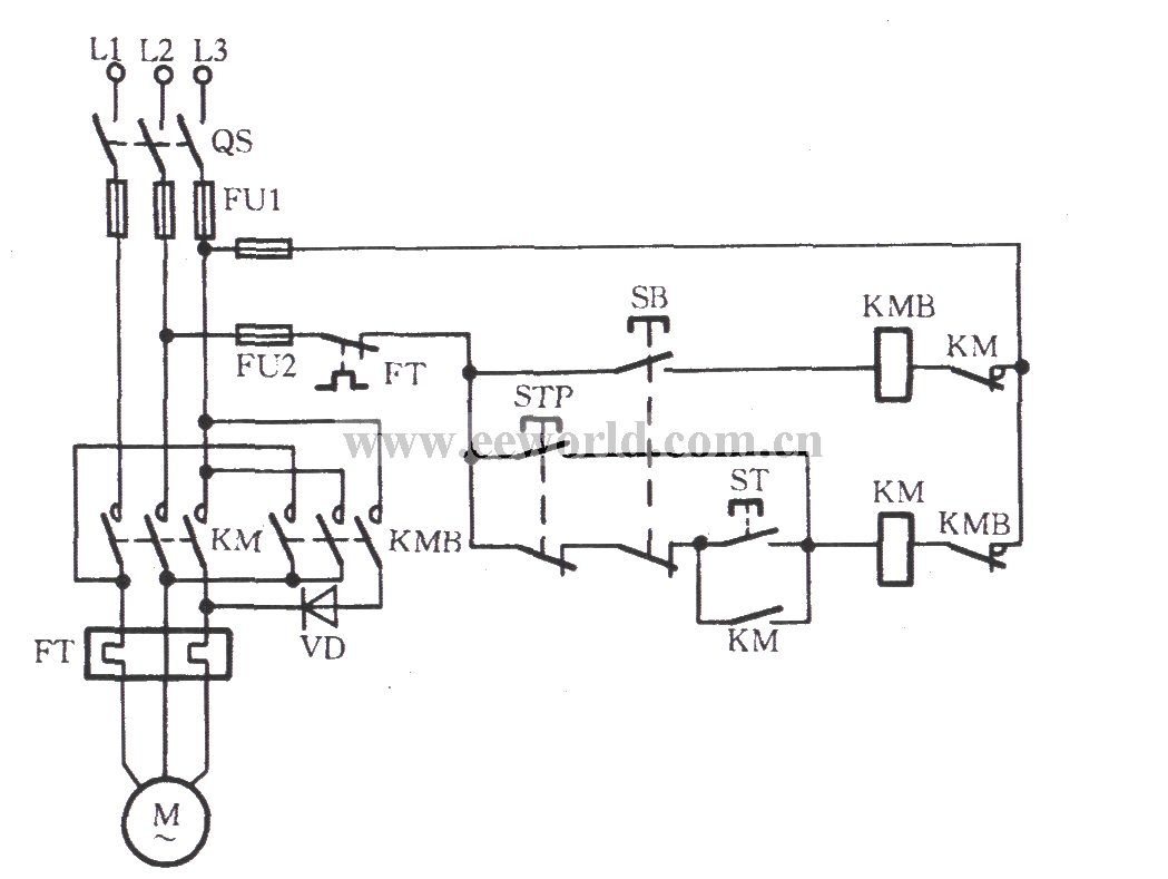 Three-phase motor braking circuit 1