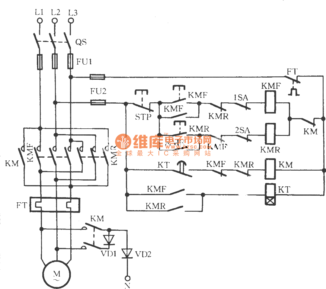 Reverse 3 Phase Motor Contactor Wiring Library Single Starter Circuit Diagram Three Braking 2
