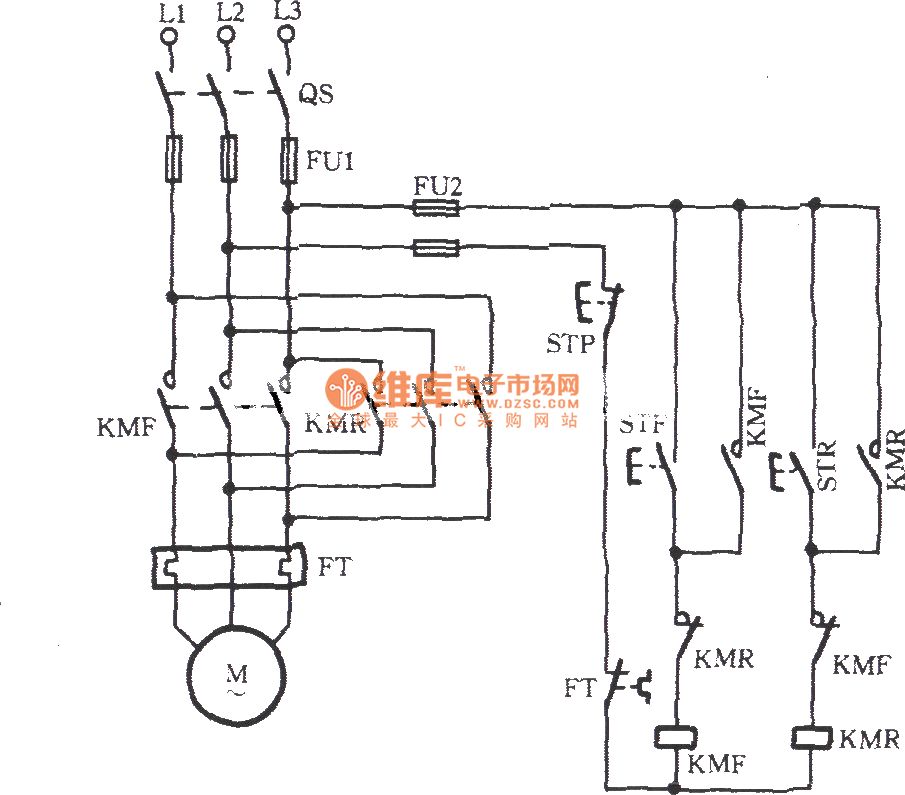 three-phase motor contactor auxiliary contact interlock switching circuit