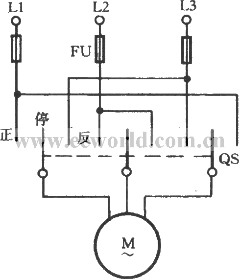 three-phase motor operation conversion circuit - basic circuit - circuit diagram