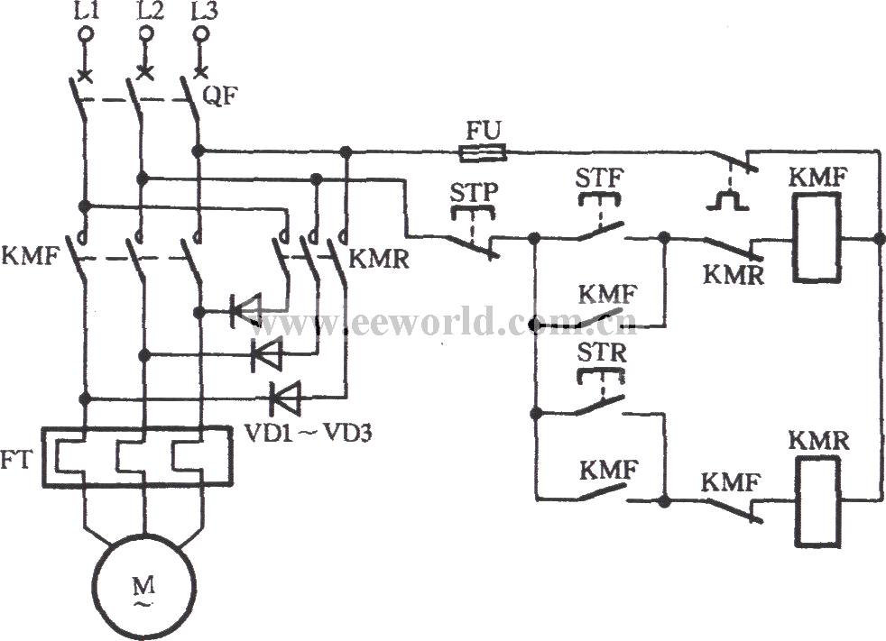 y-connection three-phase motor low speed running and braking in reverse circuit