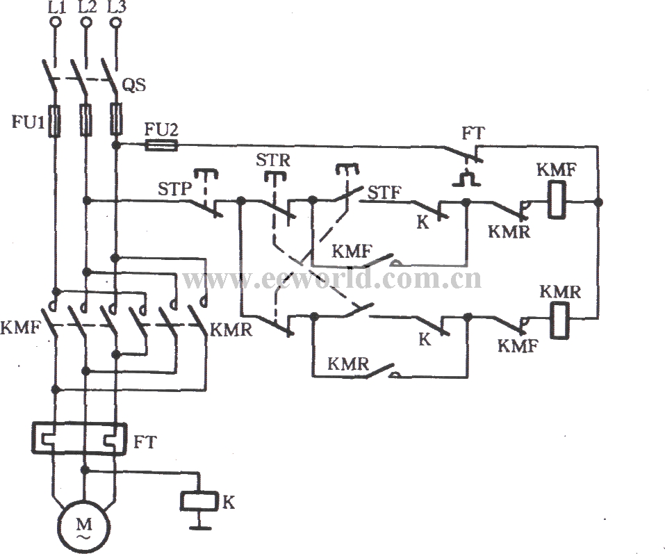 three-phase motor using the relay to prevent phase short circuit switching circuit