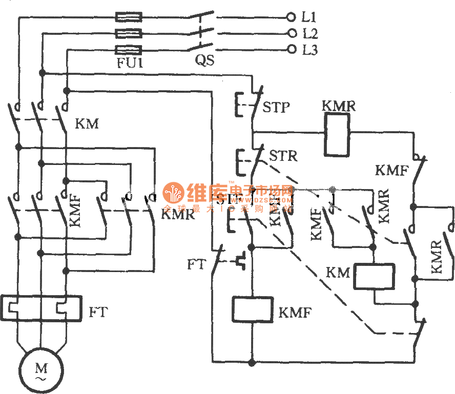 three-phase motor using three-contactor for inverting circuit - relay control