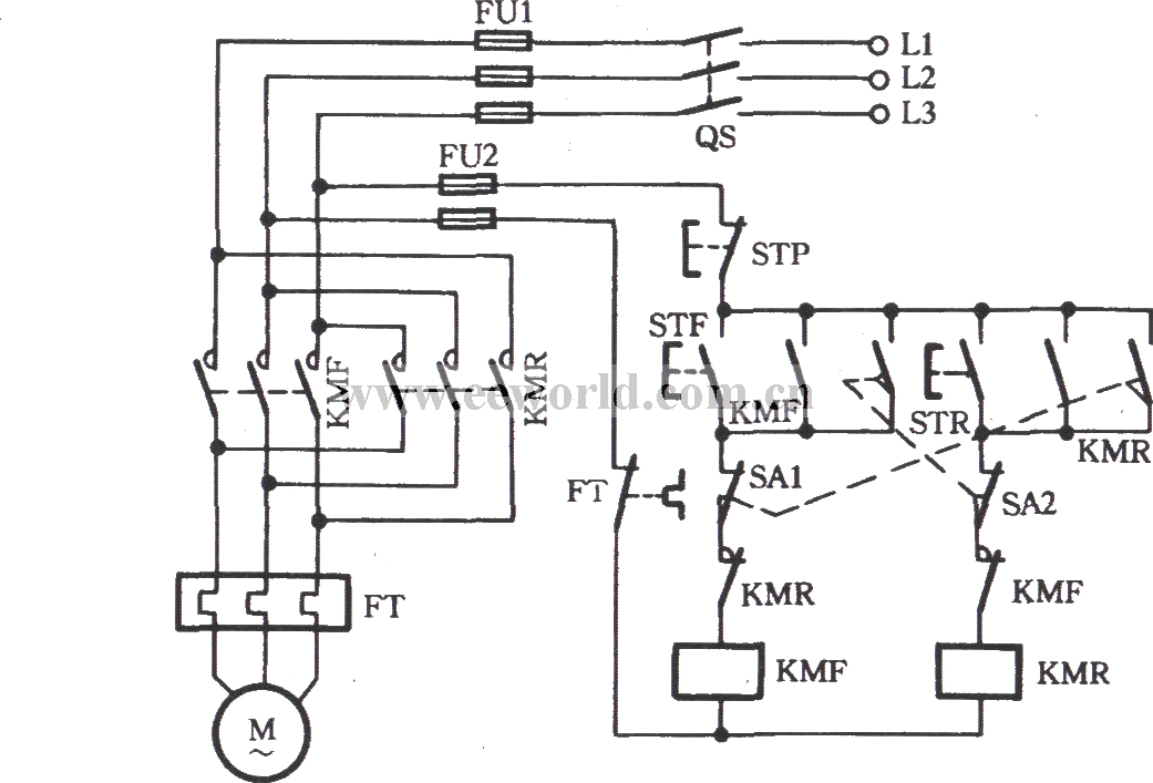 Three-phase motor using the limit switch for inverting circuit ...