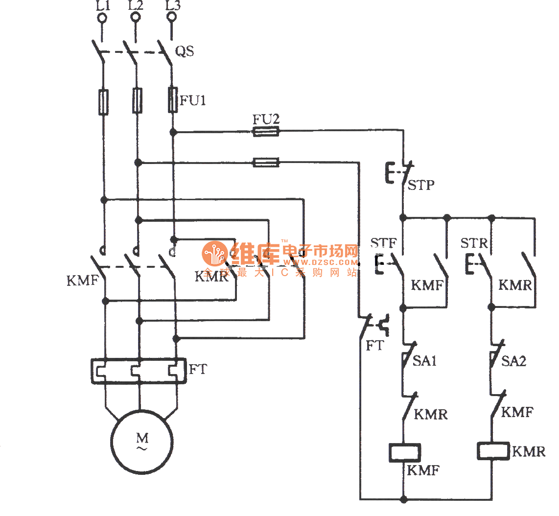 three-phase motor using limit switch for automatically stopping inverting circuit
