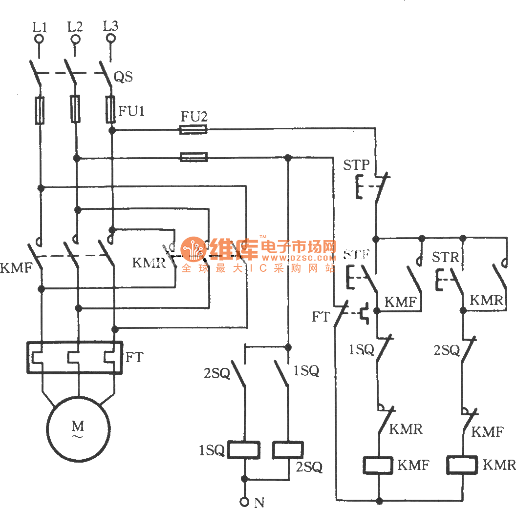 Three-phase motor using proximity switch for automatically stopping  inverting circuit