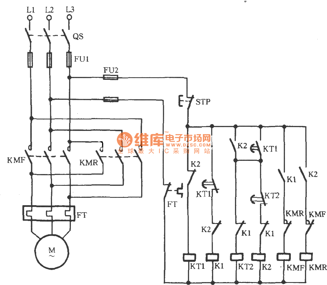 3 Phase Circuit Diagram Wiring Library Single Starter Three Motor Automatic Limiting Reversing