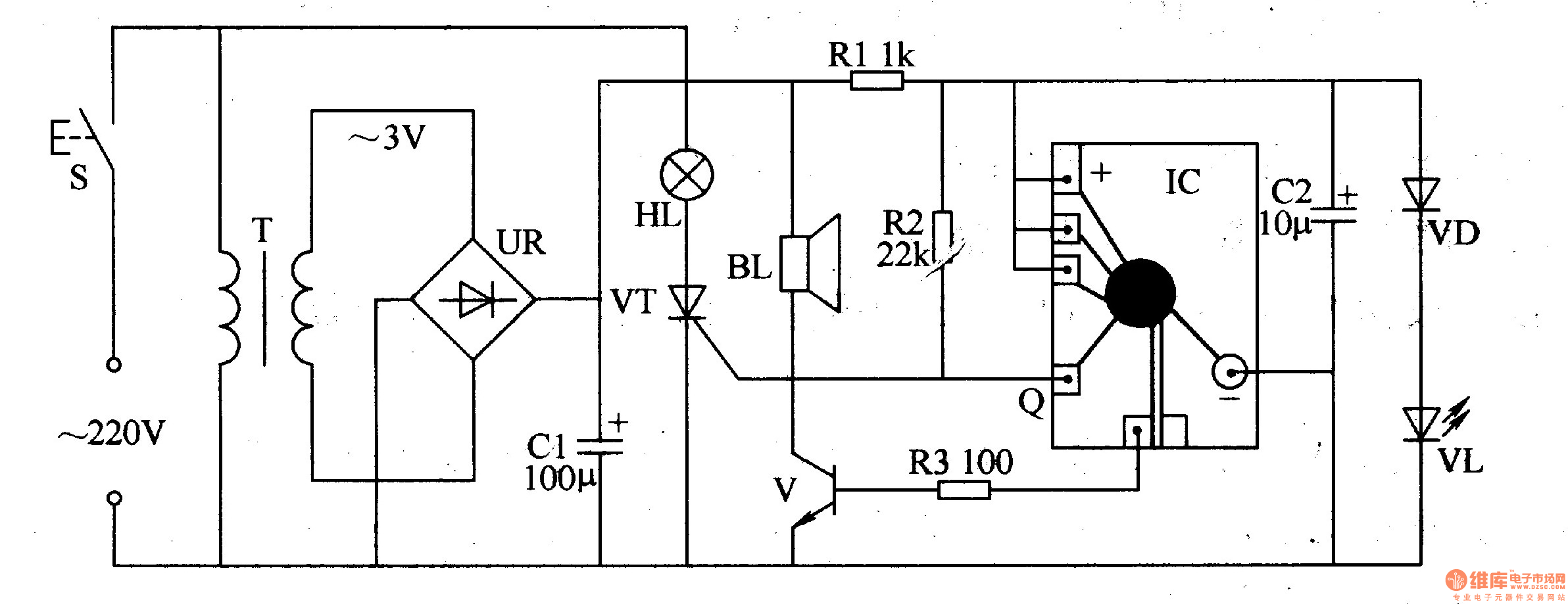 optical electronic doorbell 1 - electrical equipment circuit - circuit diagram