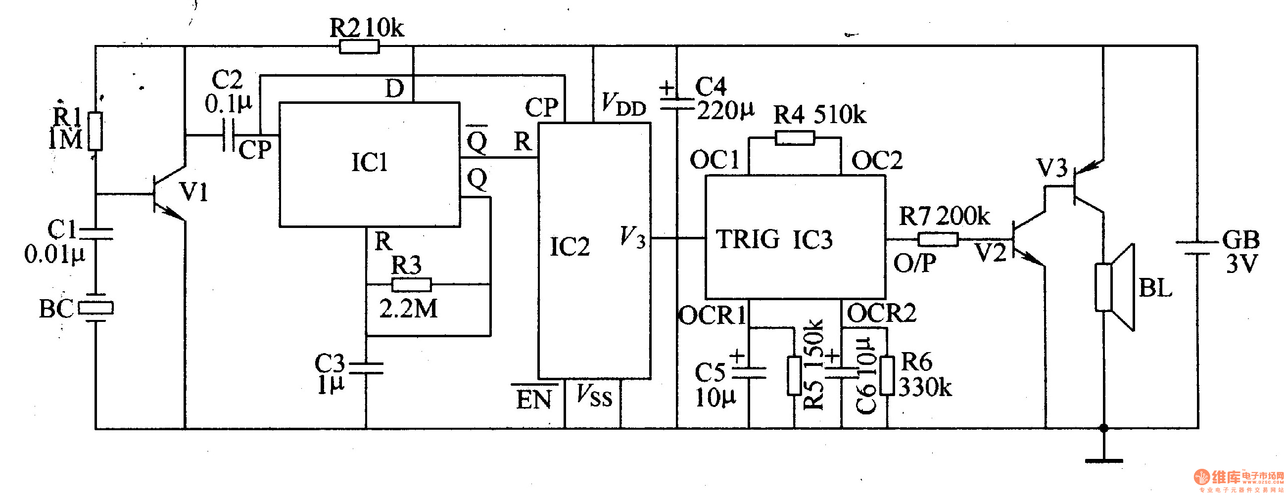percussion electronic doorbell 1 - electrical equipment circuit - circuit diagram