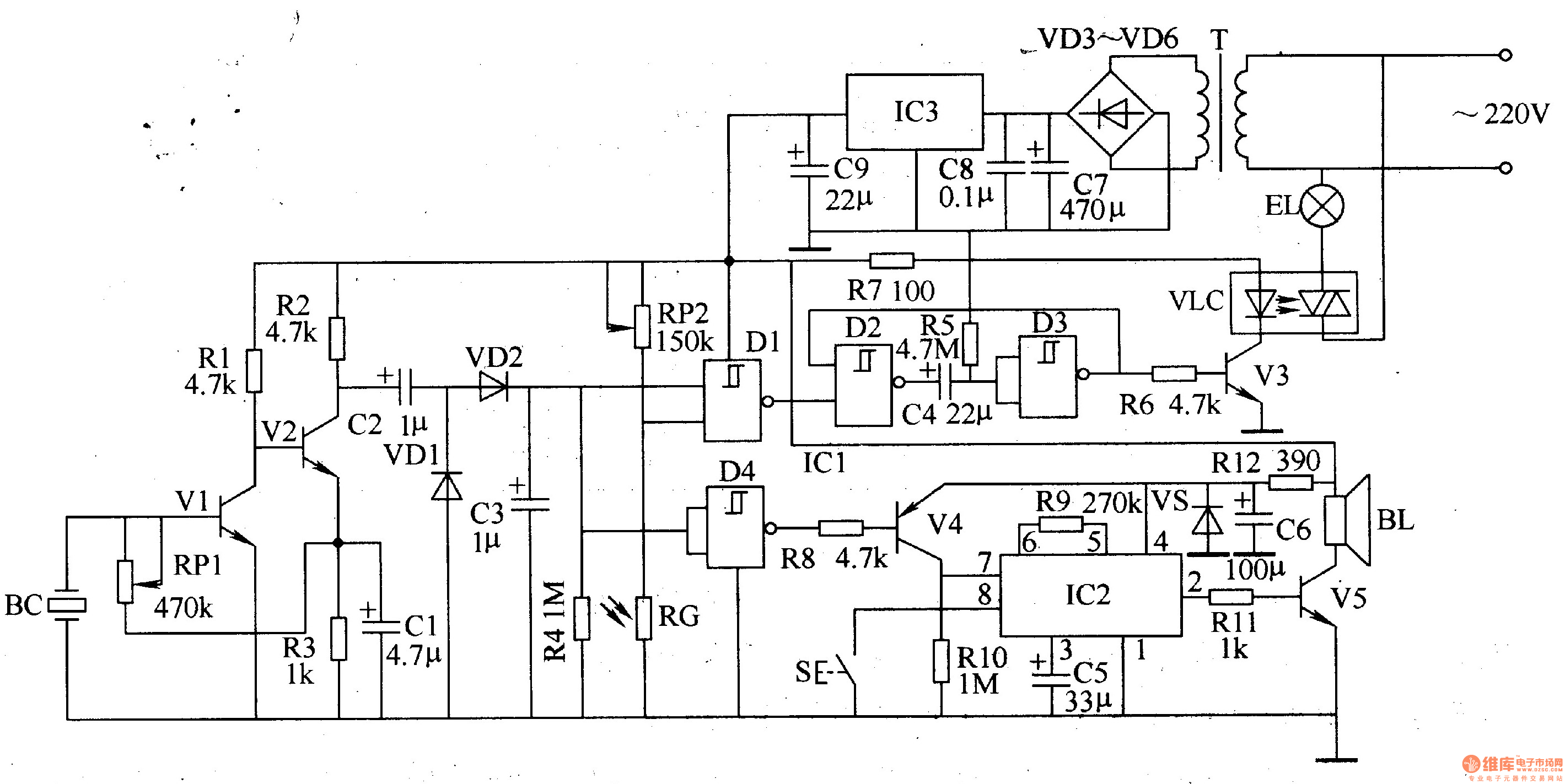 percussion electronic doorbell 2 - electrical equipment circuit - circuit diagram