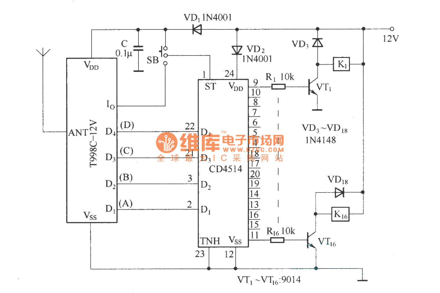 16 Channel Remote Control Circuit T998c Wwwseekiccom Circuitdiagram Basiccircuit Ratiometricadconverter