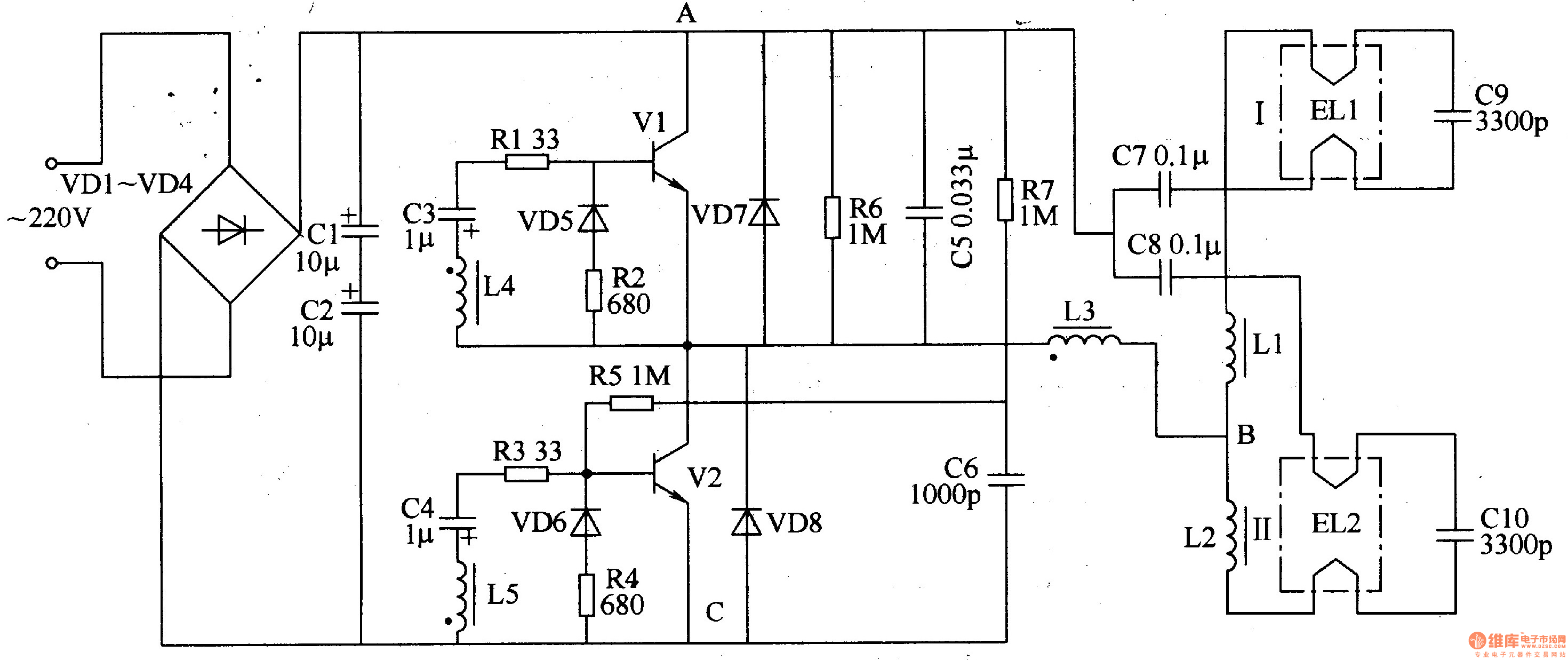 on fluorescent lamp circuit diagram