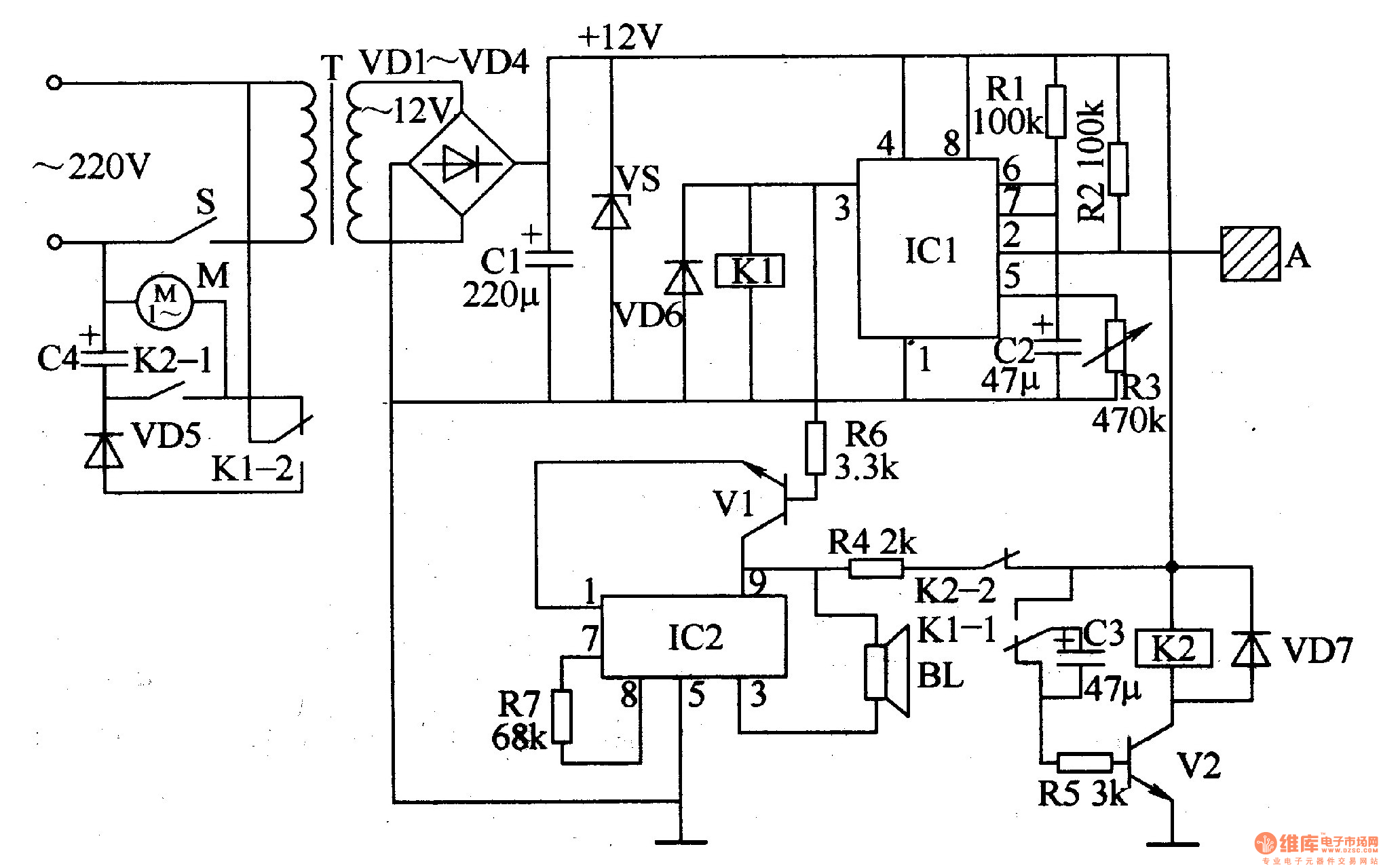 electric fan anti-injured controller - control circuit - circuit diagram