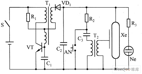the typical high-voltage flashlight circuit - control circuit - circuit diagram
