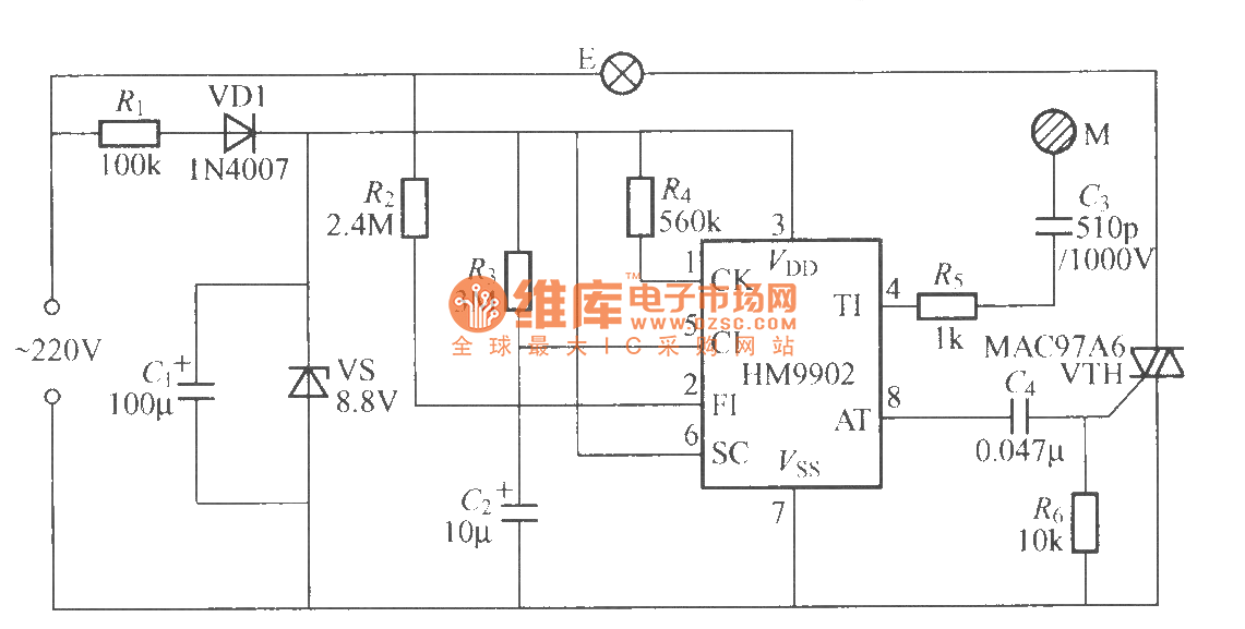 hm9902 touching two-state dimmer circuit - led and light circuit - circuit diagram