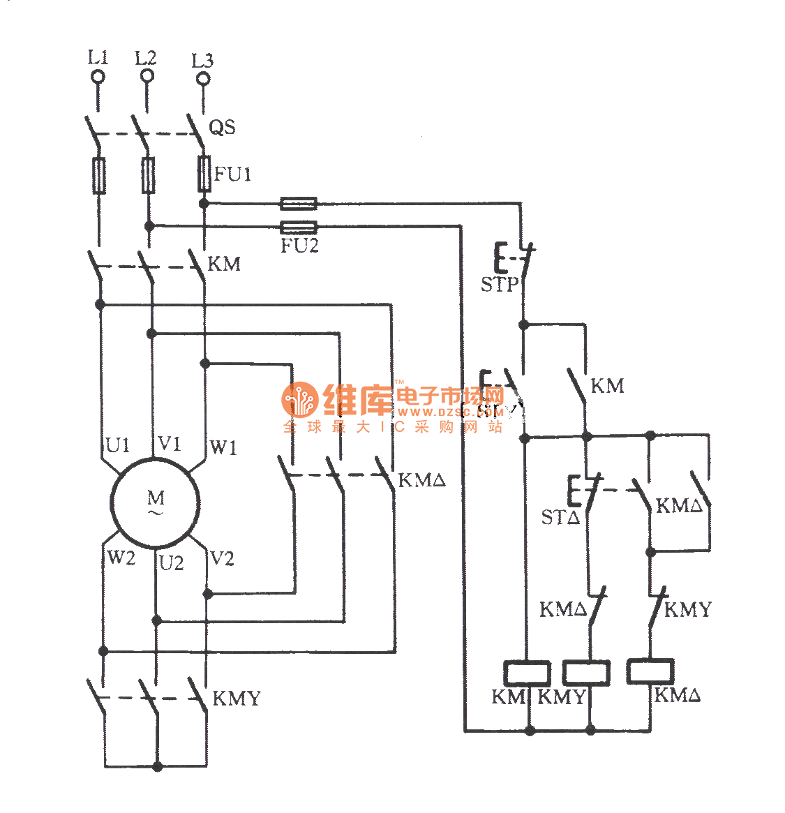 manual contactor y buck starting circuit basic circuit circuit diagram seekic