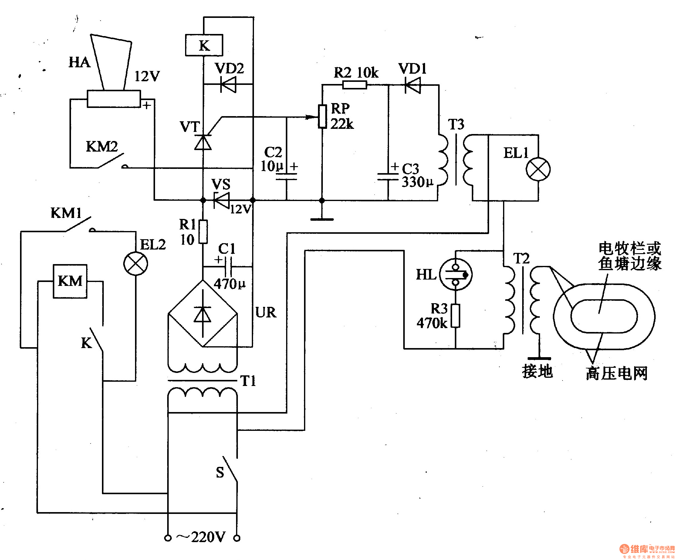 Electric fence control circuit on basic electric circuit diagram