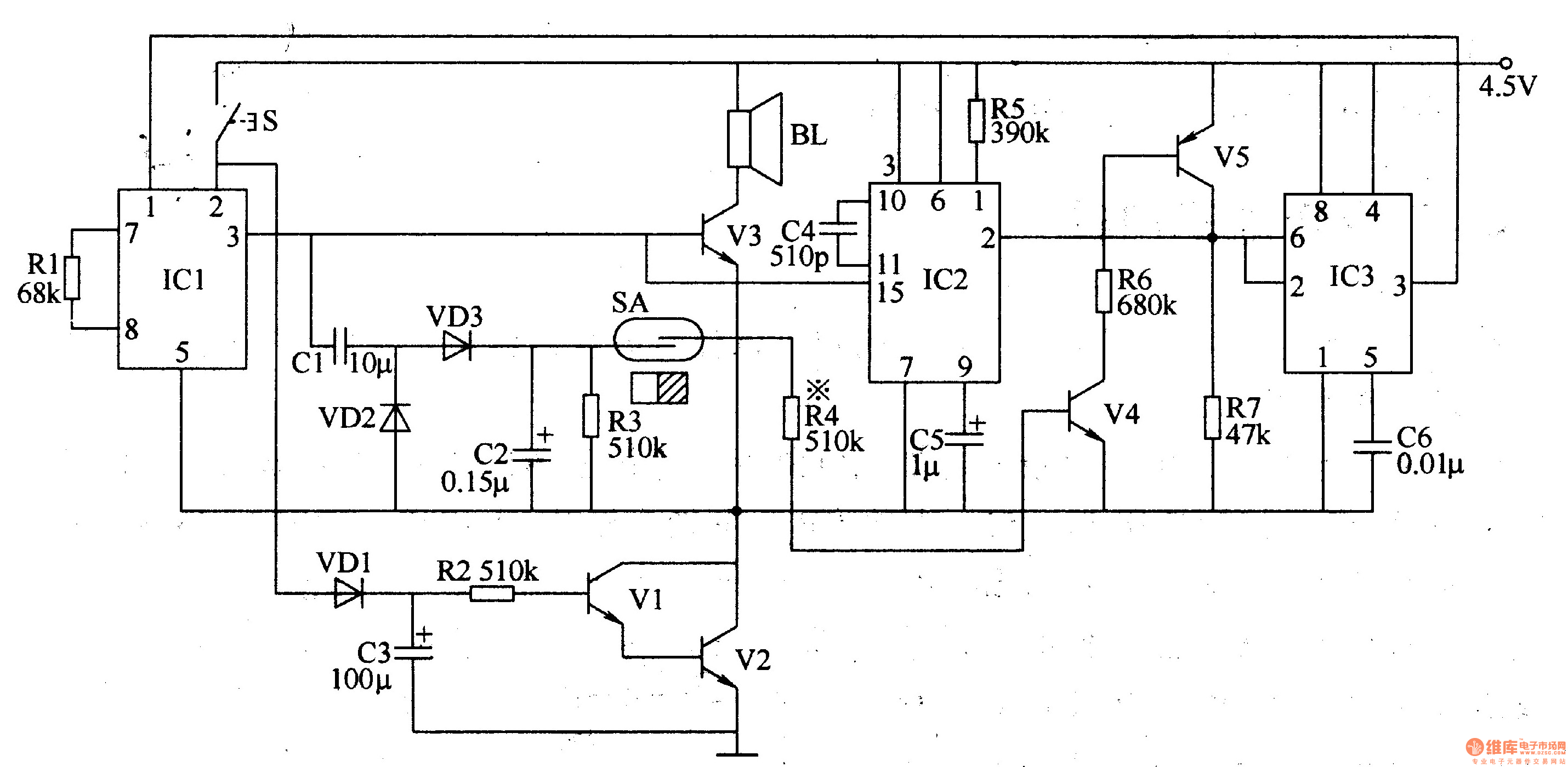 politely welcoming electronic doorbell - electrical equipment circuit - circuit diagram