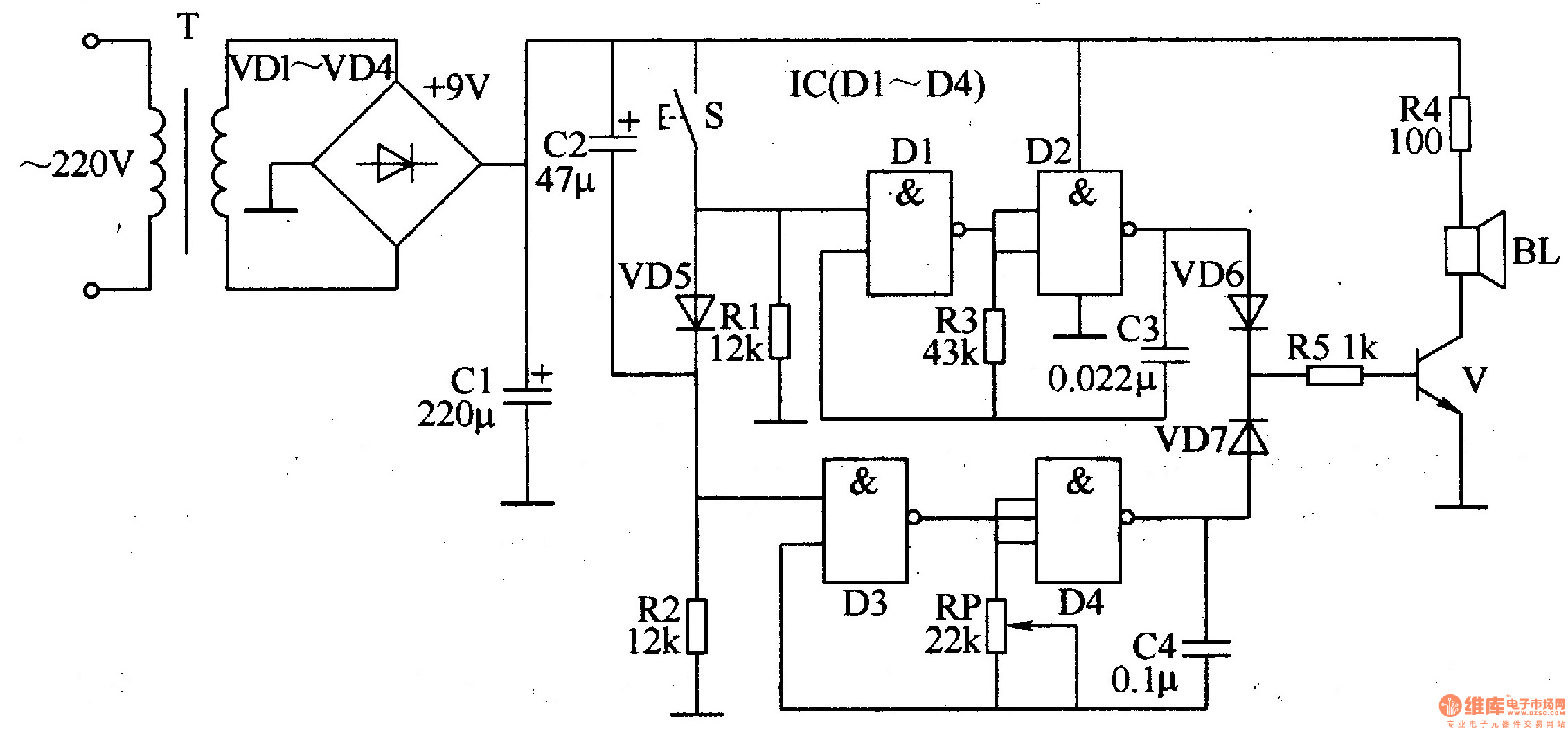 ding-dong electronic doorbell - electrical equipment circuit - circuit diagram