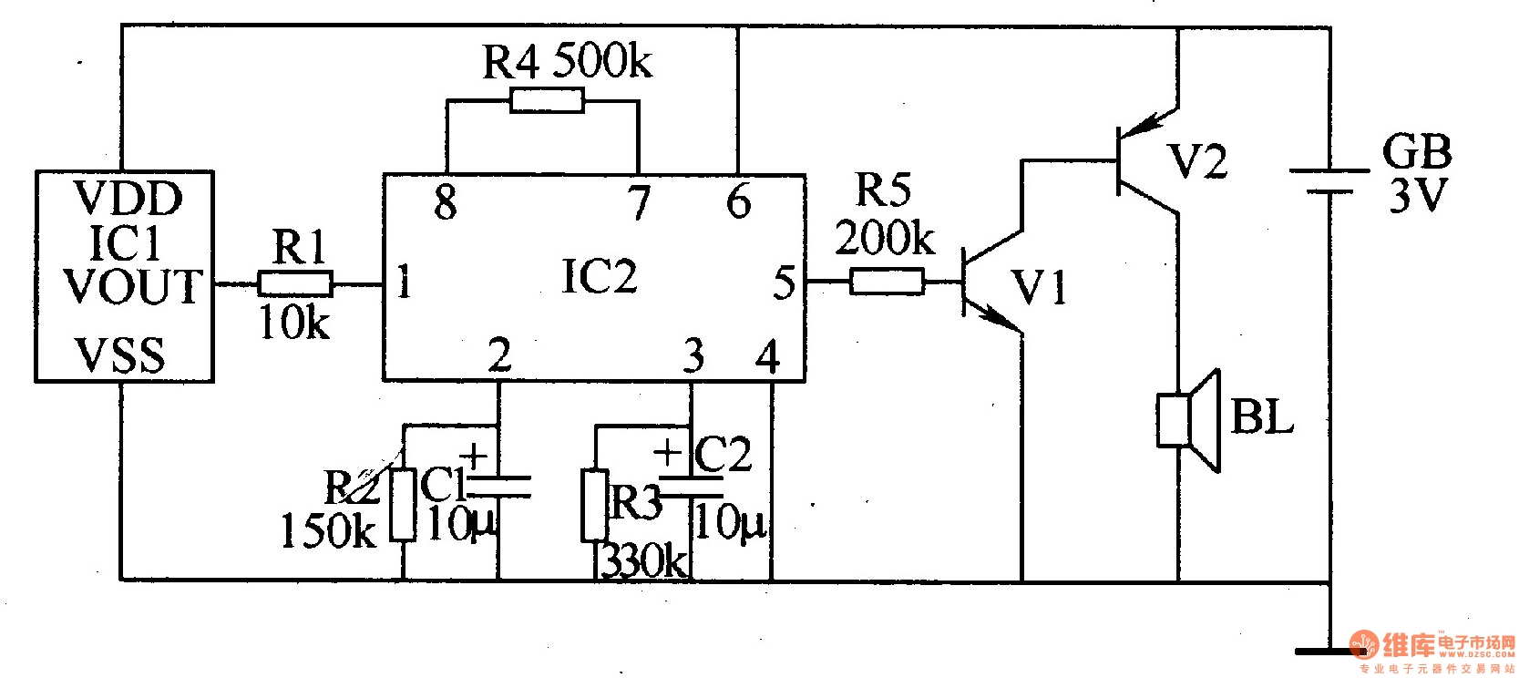 inductive electronic doorbell 3 - electrical equipment circuit - circuit diagram