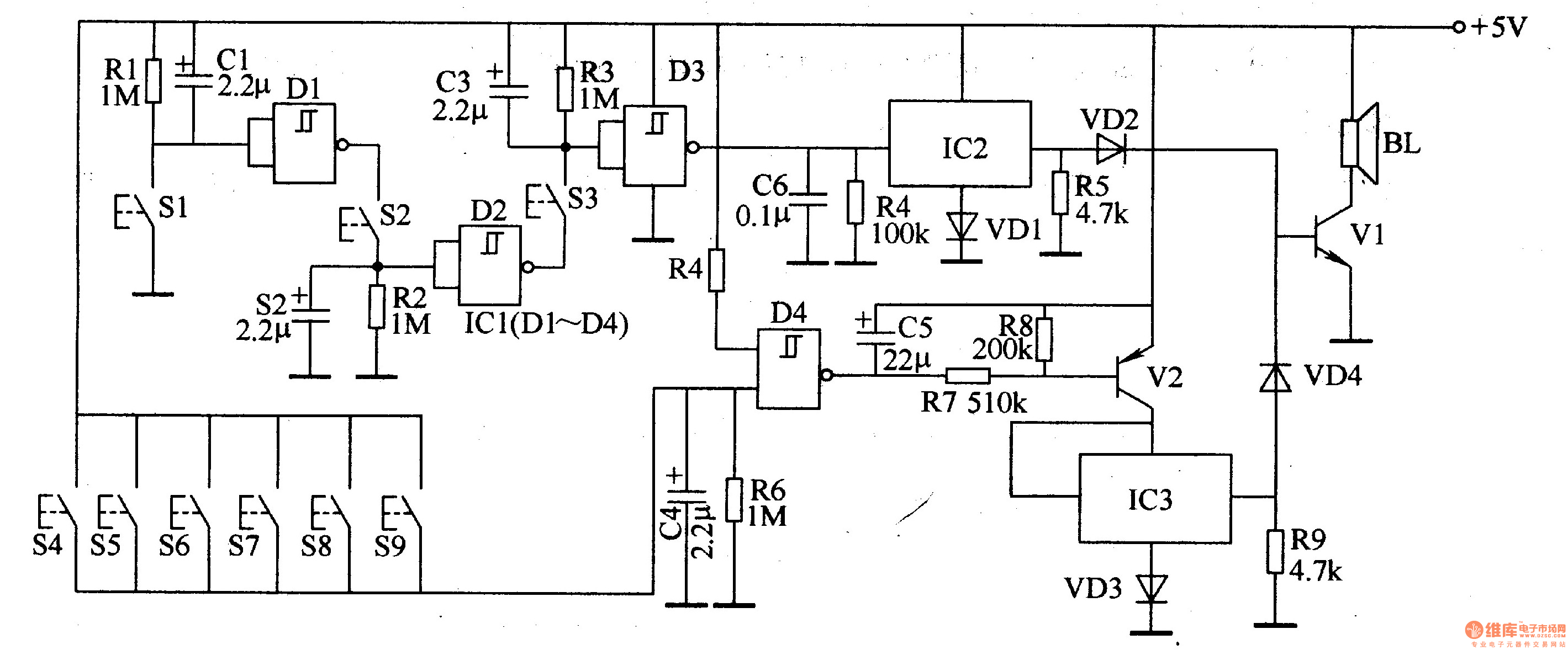 password electronic doorbell 2 - electrical equipment circuit - circuit diagram