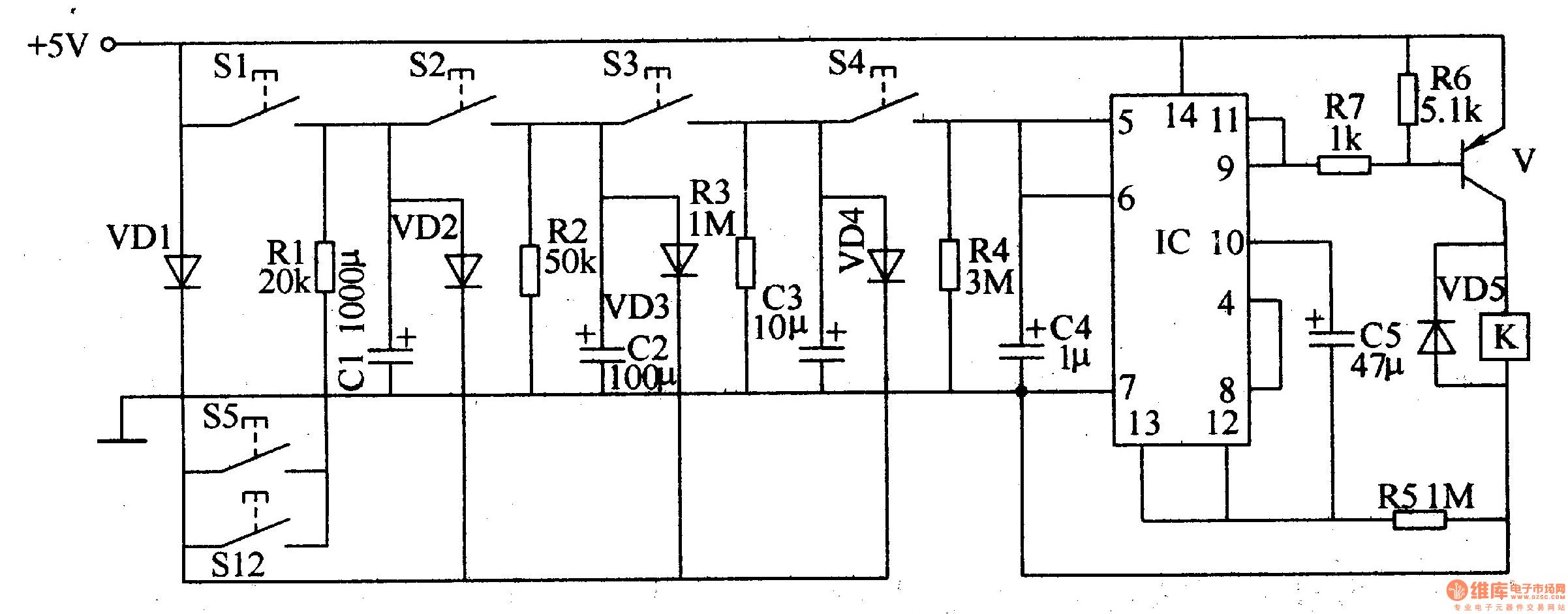 electronic password switch 2 - electrical equipment circuit - circuit diagram