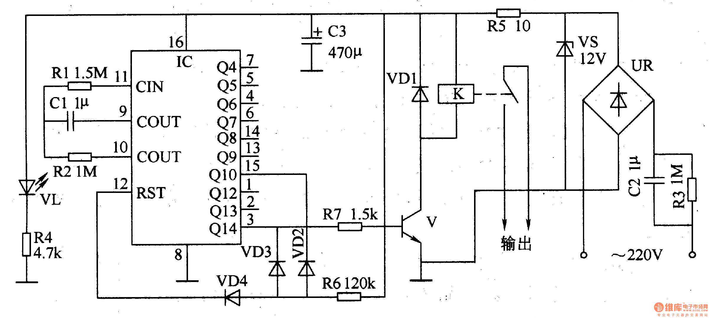 cycle timing controller 4 - time control - control circuit - circuit diagram