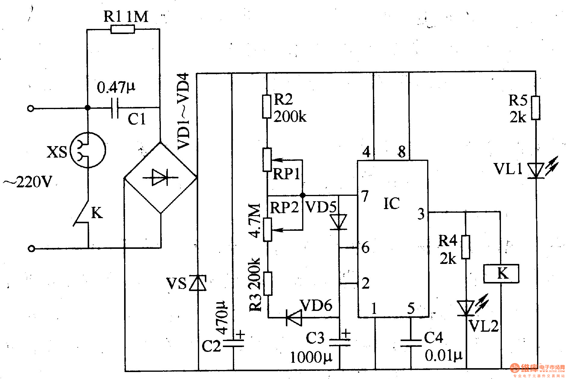 cycle timing controller 5 - time control - control circuit - circuit diagram