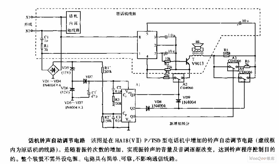 Circuit diagram of auto-adjustment for the telephone ring ... on