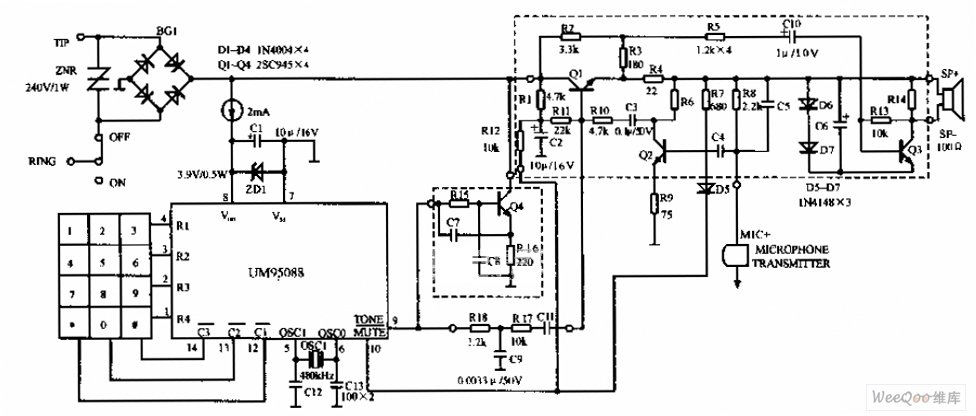 um95088 telephone circuit diagram