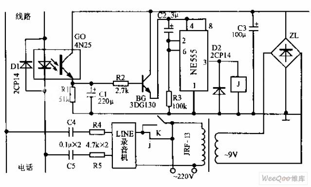 telephone automatic recording control device circuit