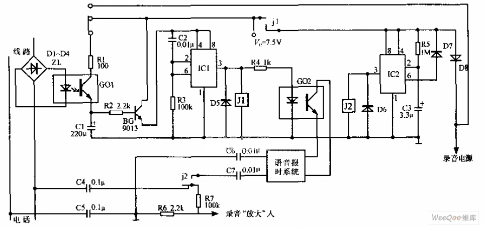 real time telephone automatic recording device circuit diagramreal time telephone automatic recording device circuit diagram