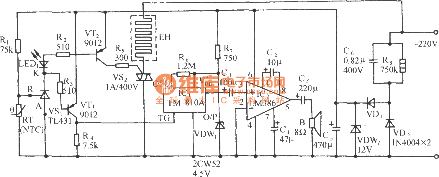 lower limit temperature frog sound alarm and automatic heating control circuit